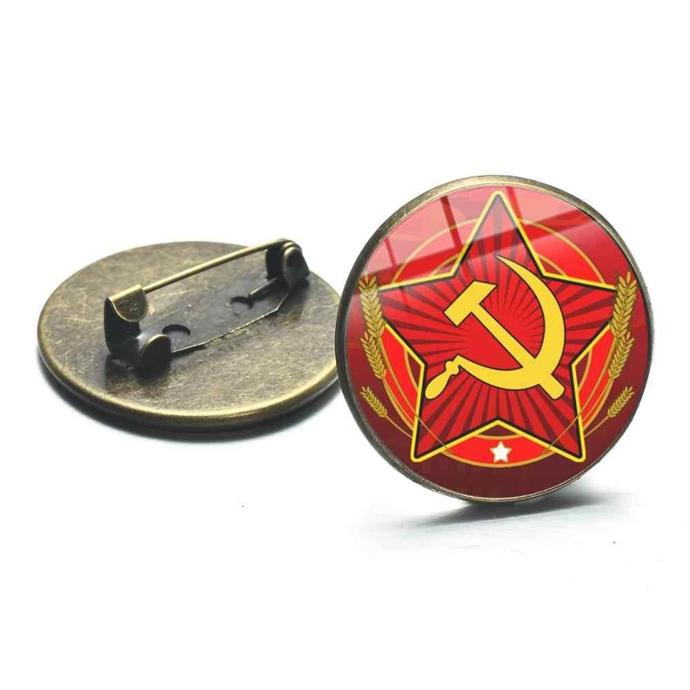 Songda Uni Soviet Simbol Sabit Hammer Bros Merah Bintang Perang Dingin Soviet Pro Kitty Kaca Foto Kerah Pin Lencana Buatan Tangan Klasik Koleksi