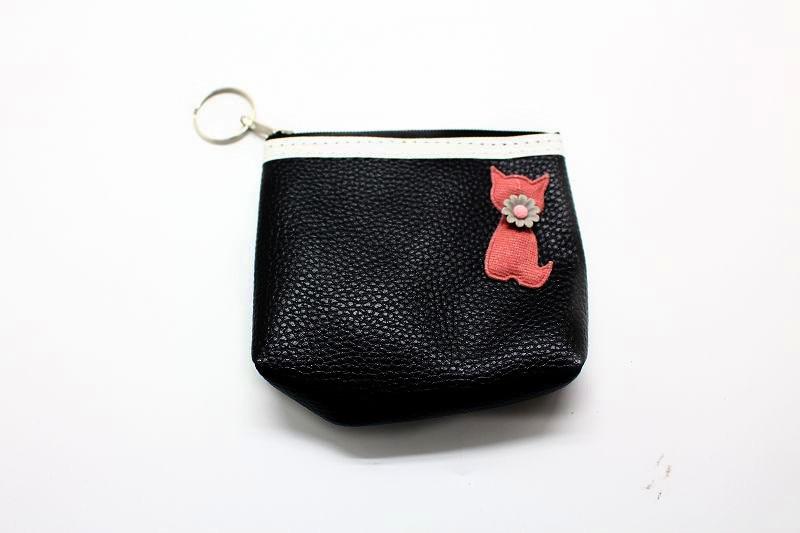 New Style Women's Coin Wallet Zipper Cute Purse Leather Kitten Purse Women's Fabric Mini Purse