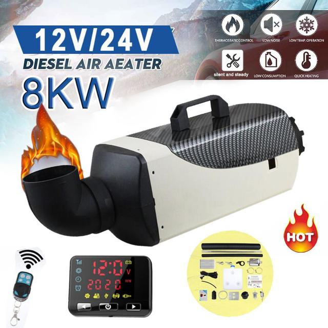 5KW 8KW 12V24V Auxiliary Heater Parking Air Fuel Oil Heating Machine &LCD Monitor Air Diesels Fuel Heater Single Hole For Boats,Trucks