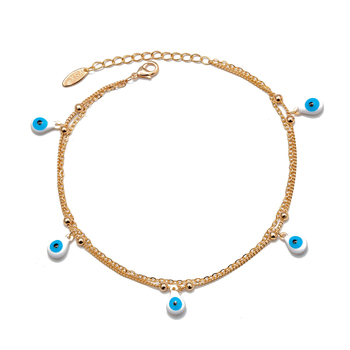 Lucky Eye Water Drop Star Heart Charm Anklet Multi Layer Gold Color Foot Chain Evil Eye Ankle Bracelet for Women Jewelry BD78 5