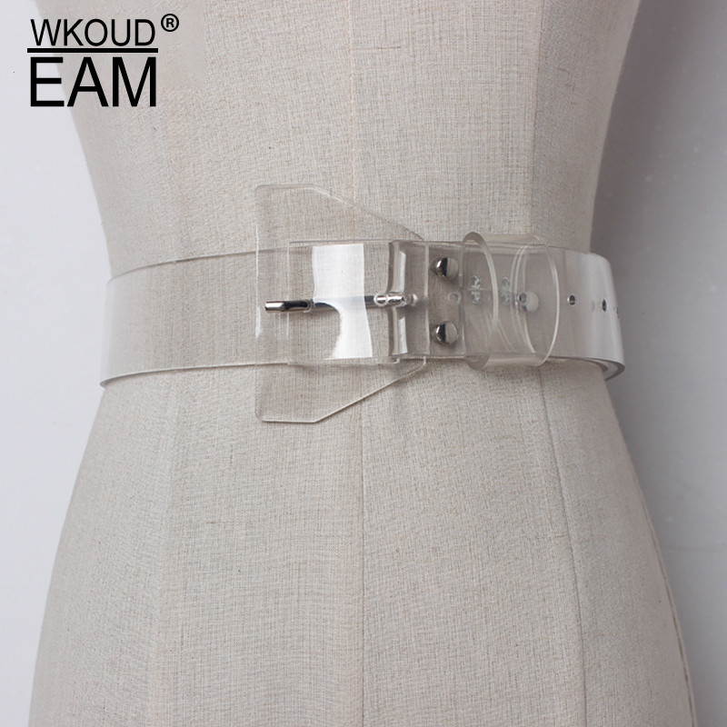 WKOUD EAM 2020 New Spring Transparent Plastic Solid Color PVC Material Women Belt Fashion Tide All-match Casual AJ07200