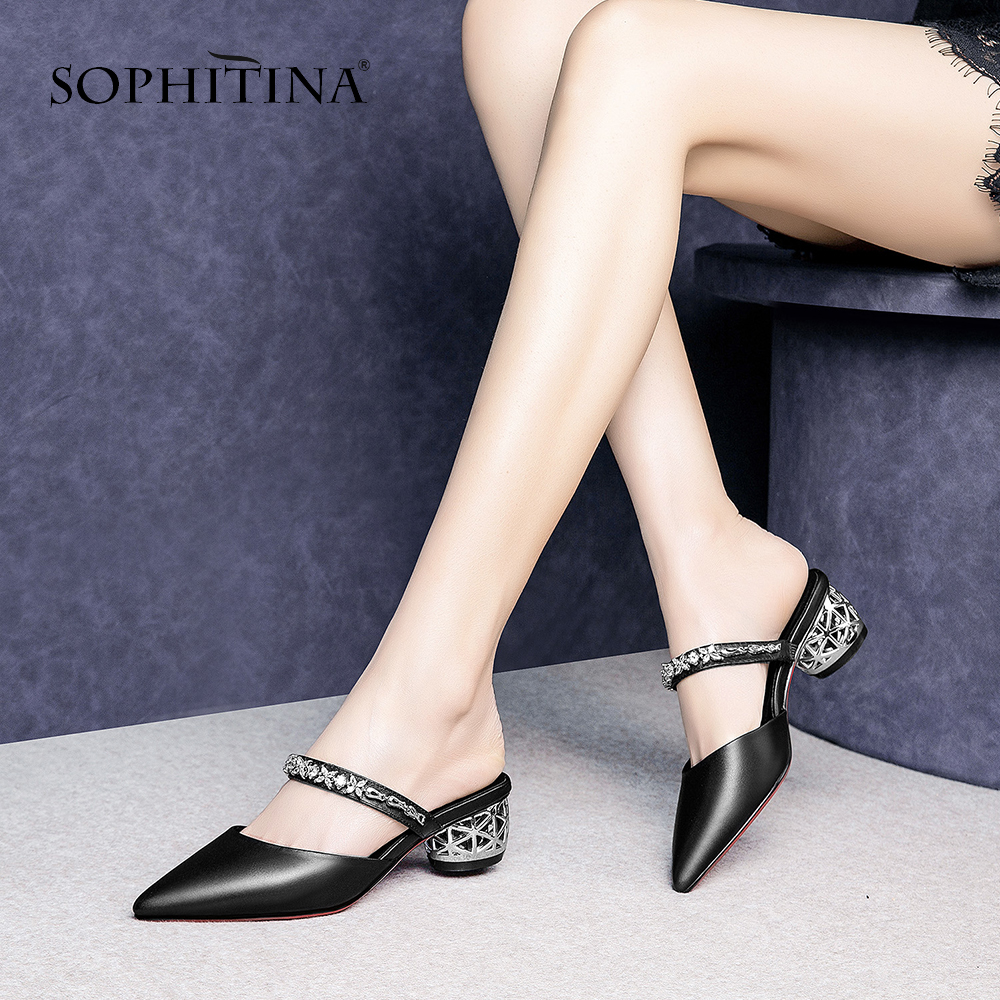 SOPHITINA Fashion Sandals Women Shoes High Quality Cow Leather Bling Decoration Slip-On Pointed Toe Shoes Casual Sandals SO467