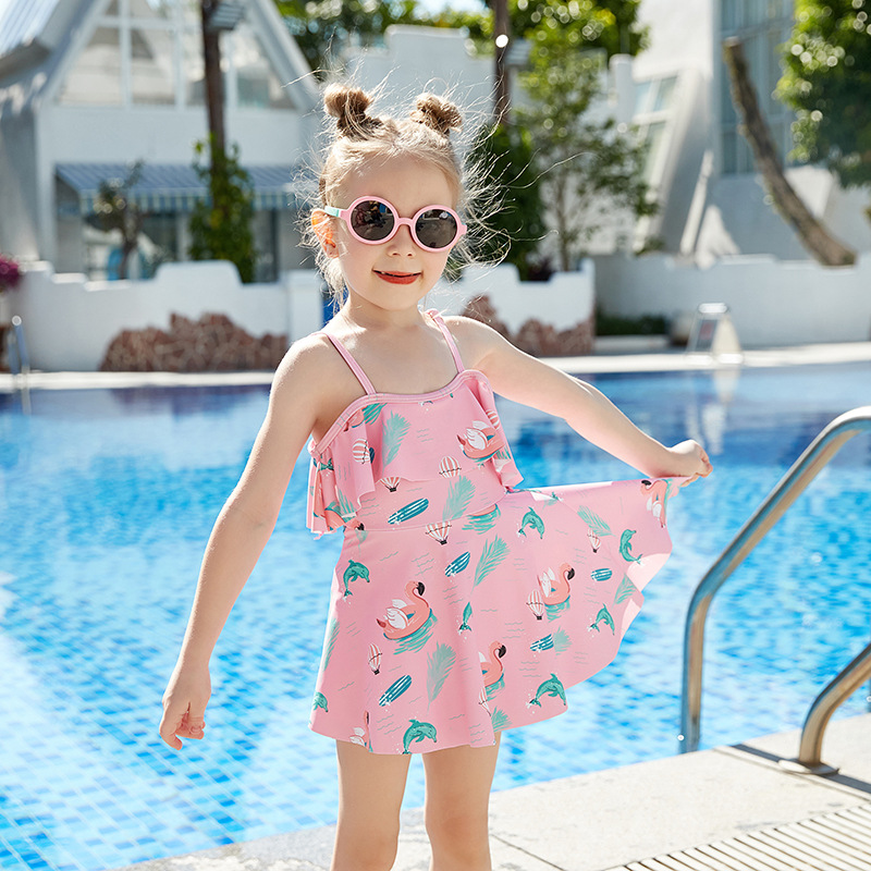 2019 New Style Miss Sunshine Fashion Cartoon Flamingo Flounced Boxer Skirt Medium-small Girls KID'S Swimwear