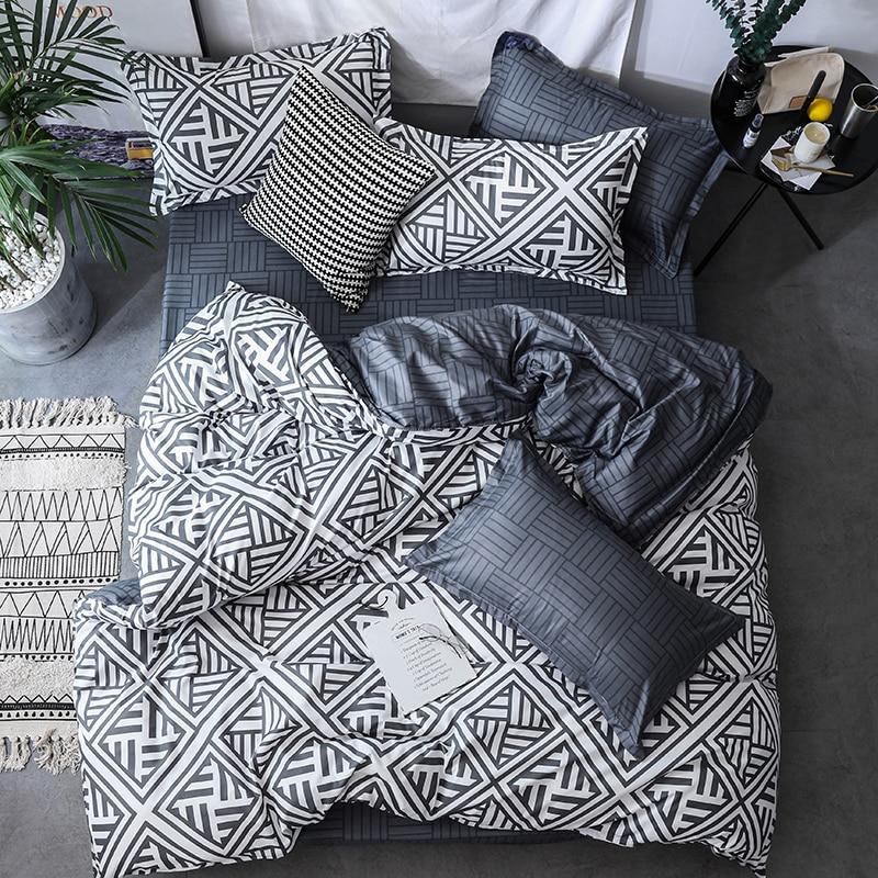Black Duvet Cover Set Bed Linens Pillowcase 3pcs Bedding Set,Comforter/Quilt/Blanket Case Twin Queen King Double Single Bedding
