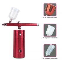 Портативный Перезаряжаемый мини-воздушный компрессор в комплекте, Аэрограф-распылитель для краски, Аэрограф для дизайна ногтей, татуирово...