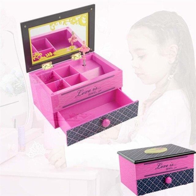Saim Dancing Ballerina Music Box Children Musical Pink Girl Jewelry Box Mechanism Gift Rectangle with Ballerina