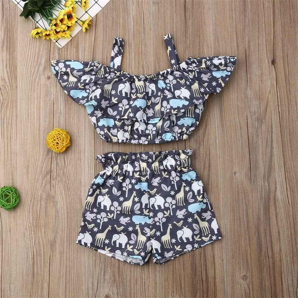 Pudcoco 2019 פעוט ילדה בגדי 2pcs יילוד תינוקות תינוקת בגדי קלע חולצות + פרחוני הדפסת מכנסיים קצרים 2pcs תלבושות