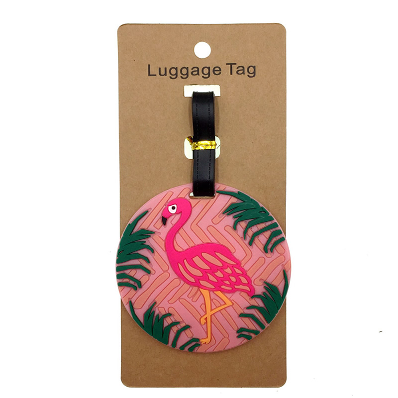 Animal Pink Flamingos Luggage Tag Suitcase ID Address Holder Baggage Boarding Tag Portable Silica Gel Label Travel Accessories