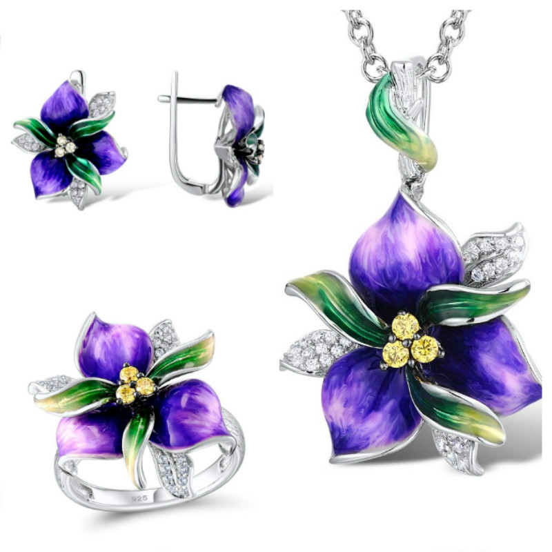 Exquisite Purple Bud Flower Silver Jewelry Set for Women Fashion Enamel Ring Earrings Pendent Set Wedding Anniversary Jewelry
