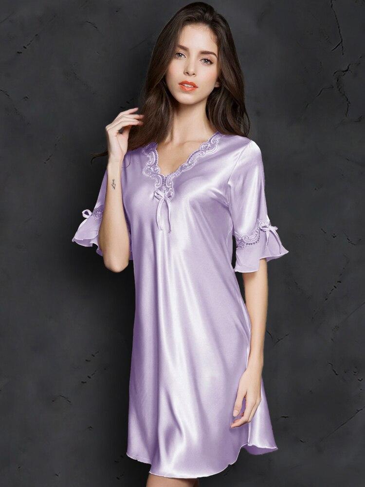 V neck Sleepdress Korean Version Ice Silk Short Sleeve Lace Skirt Home Sexy Sleepwear Silk Lingerie in Nightgowns Sleepshirts from Underwear Sleepwears