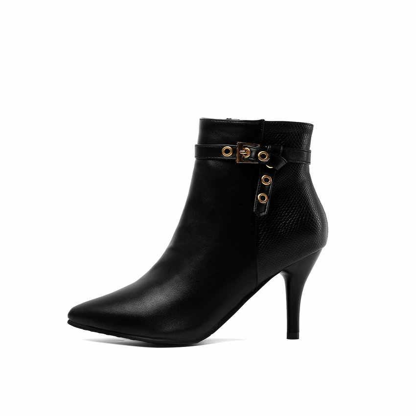 ESVEVA 2020 Kadın Ayakkabı Kış yarım çizmeler Moda Ince Yüksek Topuk Akın Sivri Burun Motosiklet Platform Çizmeler Boyutu 34-43