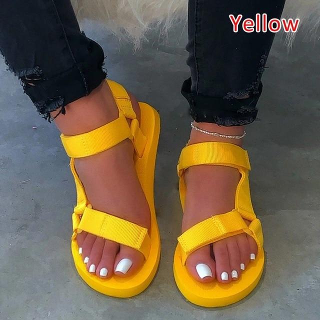 Summer Soft Slip Sandals 2020 Women Buckle Strap Foam Sole Durable Sandals Ladies Outdoor Casual Beach Shoes Woman Plus Size 45 5