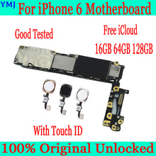 for iphone 6 4.7inch Motherboard with Touch ID,100% Original unlocked for iphone 6 Mainboard+ Full Chips,16GB 64GB 128GB