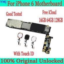 터치 id가있는 iphone 6 4.7 인치 마더 보드, iphone 6 메인 보드 + 풀 칩, 16GB 64GB 100% GB 용 128 오리지널 잠금 해제