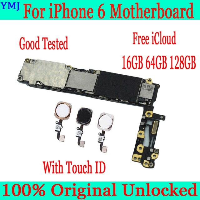 עבור iphone 6 4.7 אינץ האם עם מגע מזהה, 100% מקורי סמארטפון עבור iphone 6 mainboard + מלא שבבים, 16GB 64GB 128GB