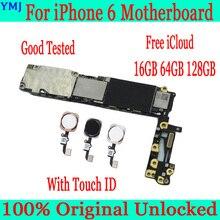 لوحة أم لهاتف iphone 6 مقاس 4.7 بوصة مع خاصية التعرف على الهوية التي تعمل باللمس ، لوحة رئيسية أصلية غير مؤمنة لهاتف iphone 6 مقاس 100% + شرائح كاملة ، 16 جيجابايت 64 جيجابايت 128 جيجابايت