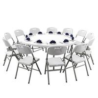 Falten Runde Tisch Home Einfache Großen Runden Tisch 10 Menschen Faltbare Esstisch Esstisch Outdoor Dining Chair auf