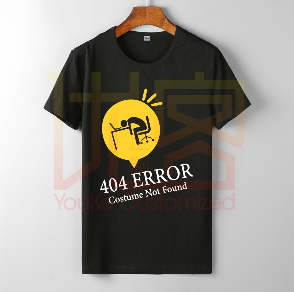 <font><b>error</b></font> <font><b>404</b></font> costume not found funny halloween <font><b>shirt</b></font> men's hot selling 100% cotton custom printed high quality brand unisex t-<font><b>shirt</b></font> image