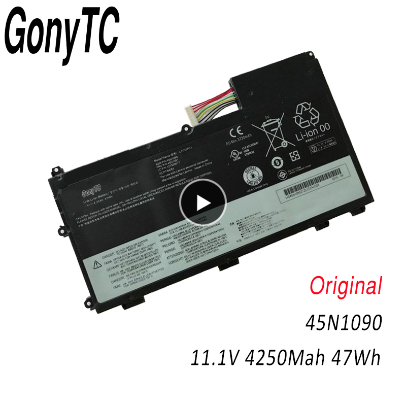 GONYTC 45N1090 11.1V 47Wh New Original Laptop Battery for <font><b>Lenovo</b></font> ThinkPad <font><b>T430U</b></font> L11N3P51 L11S3P51 45N1089 45N1091 image