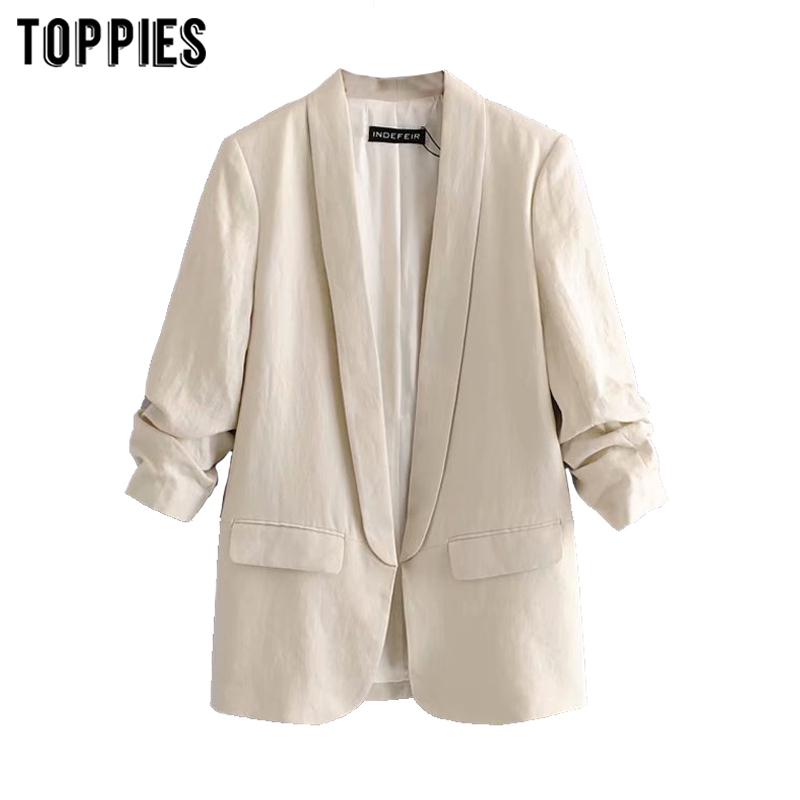 Toppies Vintage Cotton And Linen Jacket Women Blazer 2020 Spring Solid Color Cardigan Coat Ladies Formal Suits