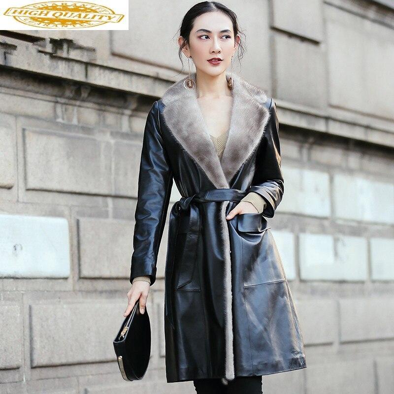 2020 Leather Jacket Winter Coat Women Mink Fur Collar Warm Down Jacket Women Genuine Sheepskin Coat Manteau Femme MY4438