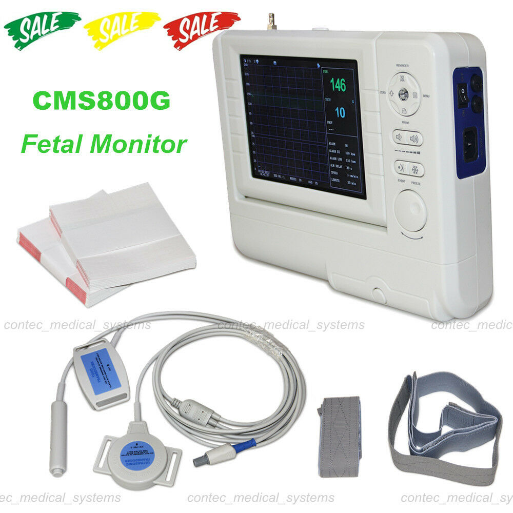 CMS800G Fetal Monitor+FHR Ultrasound Probe TOCO Transducer Fetal Movement Marker