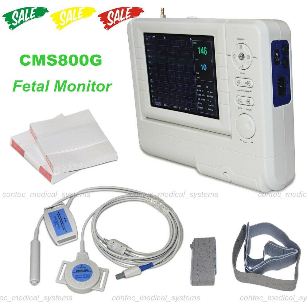 CMS800G Fetal Monitor+FHR Ultrasound probe TOCO transducer Fetal Movement Marker(China)