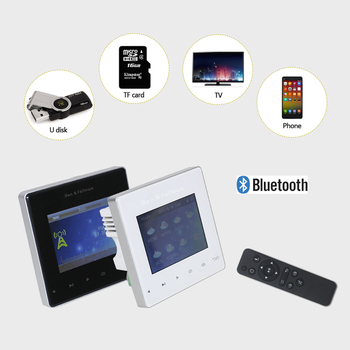 Bluetooth home audio background music system mini wall mounted amplifier with remote control,FM,USB,SD card,support 2-8 speakers