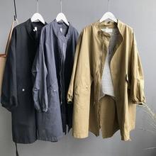 2019 Women Long Jacket Cotton Mandarin Collar Autumn Zipper Lady Oversize Coat with Pocket 3 Colors Trench Coat for Women