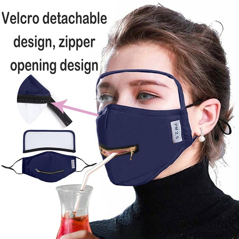 Unisexe adulte fermeture à glissière conception d'ouverture masque protecteur avec yeux bouclier détachable Transparent écran d'éclaboussures visuelles 42