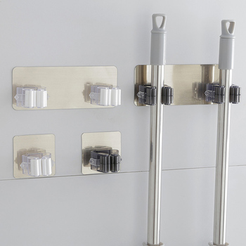 New Multifunctional Self Adhesive Broom Holder For Kitchen Brush And Bathroom Wall Hooks Tool