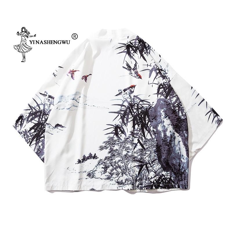 Yukata Robe Women Japanese Kimono Traditional Cardigan Japan Asian Femme Blouses Cotton Kimono Harakuju Vintage Print Shirt Tops