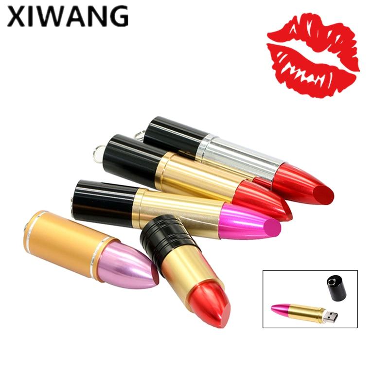 Popular Gift For Girls USB Flash Drive 128gb Pink Red Metal Lipstick 4GB PenDrive 16GB 32GB Pen Drive 64GB USB Memory Stick 8GB
