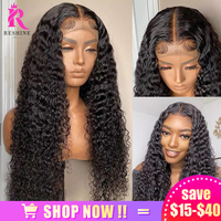 RESHINE Brazilian Water Wave Lace Frontal Wig Human Hair Wigs Preplucked 4x4 Deep Curly Lace Closure Wig 180% T Part Lace Wigs