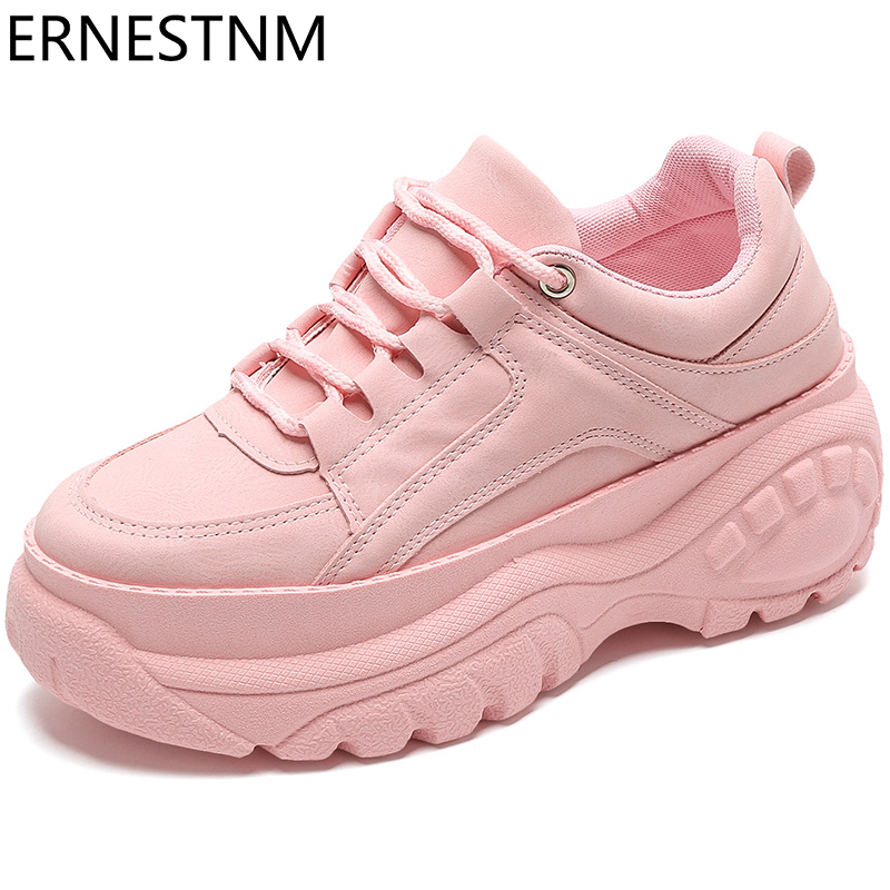 ERNESTNM 2020 Platform Spring Sneakers Women Fashion Female Pink Sneakers With High Sole Shoes Women High Top Chunky Sneakers