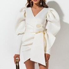Aartiee Sexy V ausschnitt Puff sleeve frauen kleid 2019 Herbst winter Kurze weibliche kleid mini Schärpe gürtel partei vestidos verband kleid
