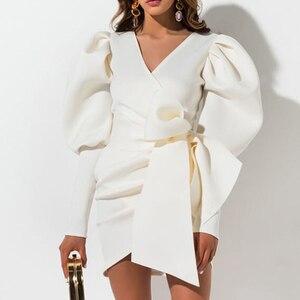Image 1 - Aartiee Sexy V ausschnitt Puff sleeve frauen kleid 2019 Herbst winter Kurze weibliche kleid mini Schärpe gürtel partei vestidos verband kleid