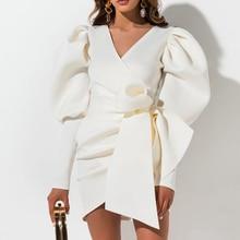 Aartiee Sexy V neck Puff sleeve women dress 2019 Autumn winter Short female dress mini Sash belt party vestidos bandage dress