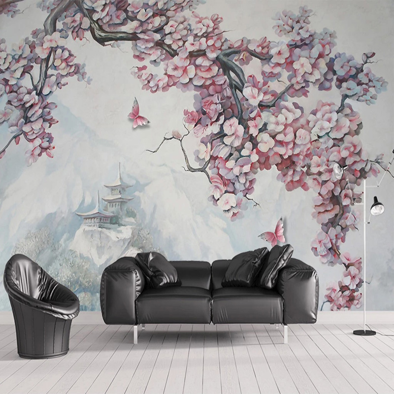 Custom Photo Wallpaper 3D Stereo Releif Flower Bird Butterfly Landscape Murals Living Room TV Sofa Study Classic Decor Wallpaper