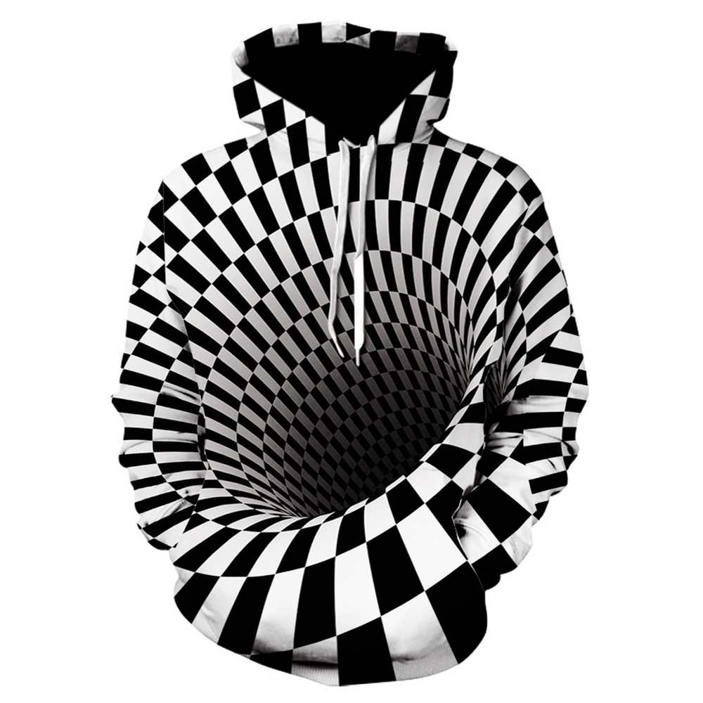 2019 Brand Hoodie   Men's 3D  Digital Vortex Print  Black And White Checkered Whirlpool Personality Hoodie Sweatshirt, Autumn Thin High - Quality Large - Size Pullover Hoodie