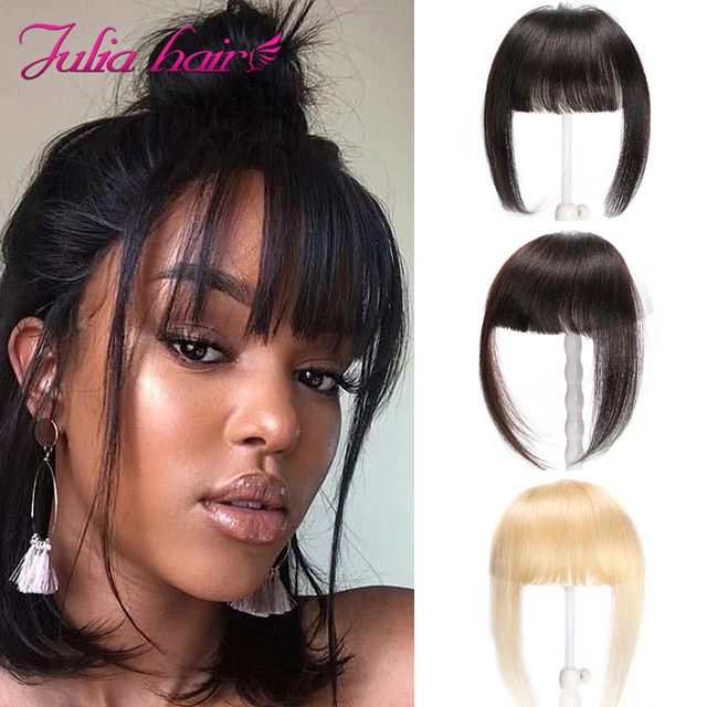 Ali Julia Air Bangs For Women Clip In Hair Extensions Brazilian Human Hair Bangs Remy Replacement Fringe Hairpiece (1)