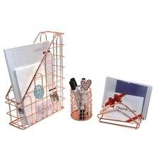Розовое золото проводной Металл 3 в 1 стол Канцелярский набор Органайзер, Письмо сортировщик держатель для карт, подставка для ручек и карандашей, вертикальный файловый Органайзер