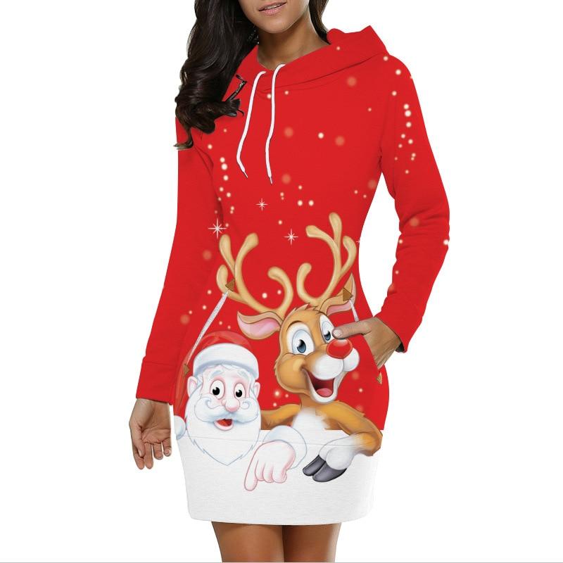 2019 New Christmas 3D Printing Women Autumn Loose Long Sleeve Hooded Long Fashion Sweatshirts Splice With Pocket Sweatshirts Top