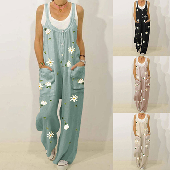 Overalls For Women Fashion Floral Print Pockets Washable Denim Overall Jumpsuit Suspender Trousers Pants Casual Overall