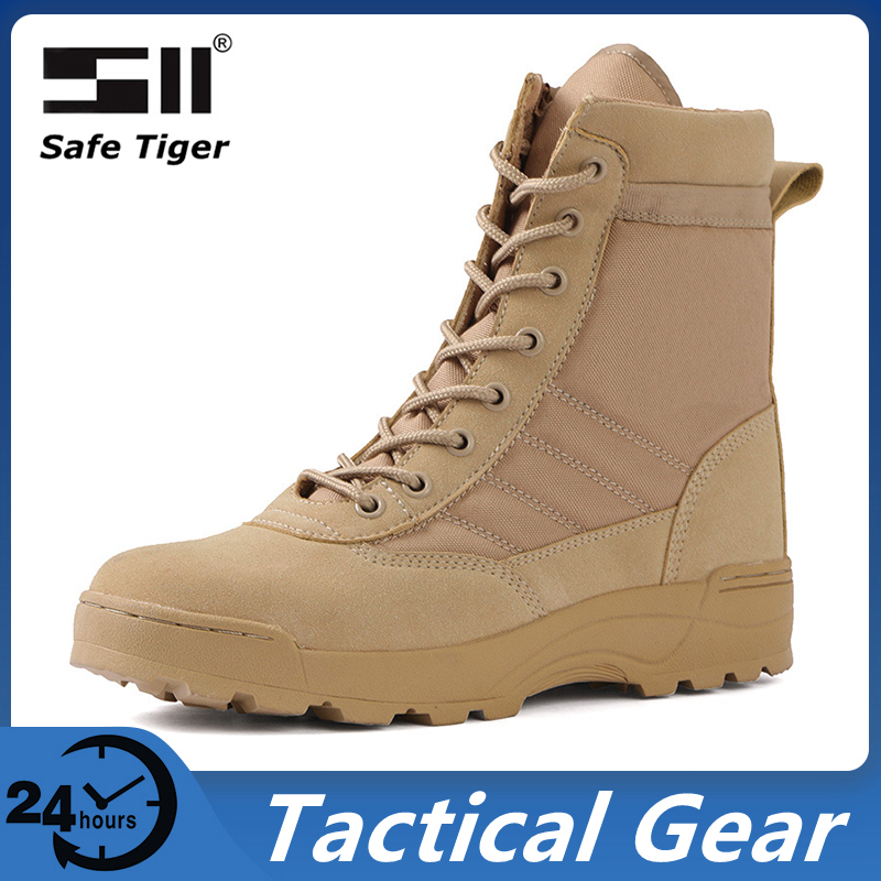 Warmth Outdoor Hiking Shoes for Men Waterproof Military Tactical Boots Combat Army High Top Desert Boots-0