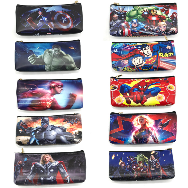 The Avengers Pencil Case Batman Flash Hulk Captain America Pen Bag Stationery Bag Cartoon Spider Man Superman Cosmetic Cases