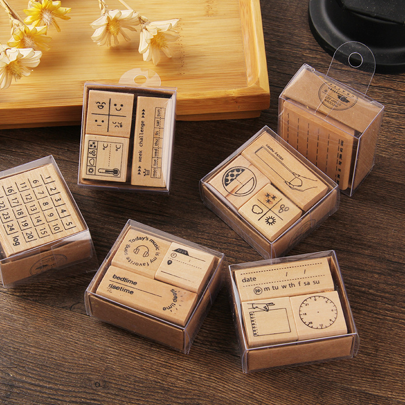 Cute Diy Diary Wooden Rubber Stamp Set For Craft Card And Scrapbooking Designs