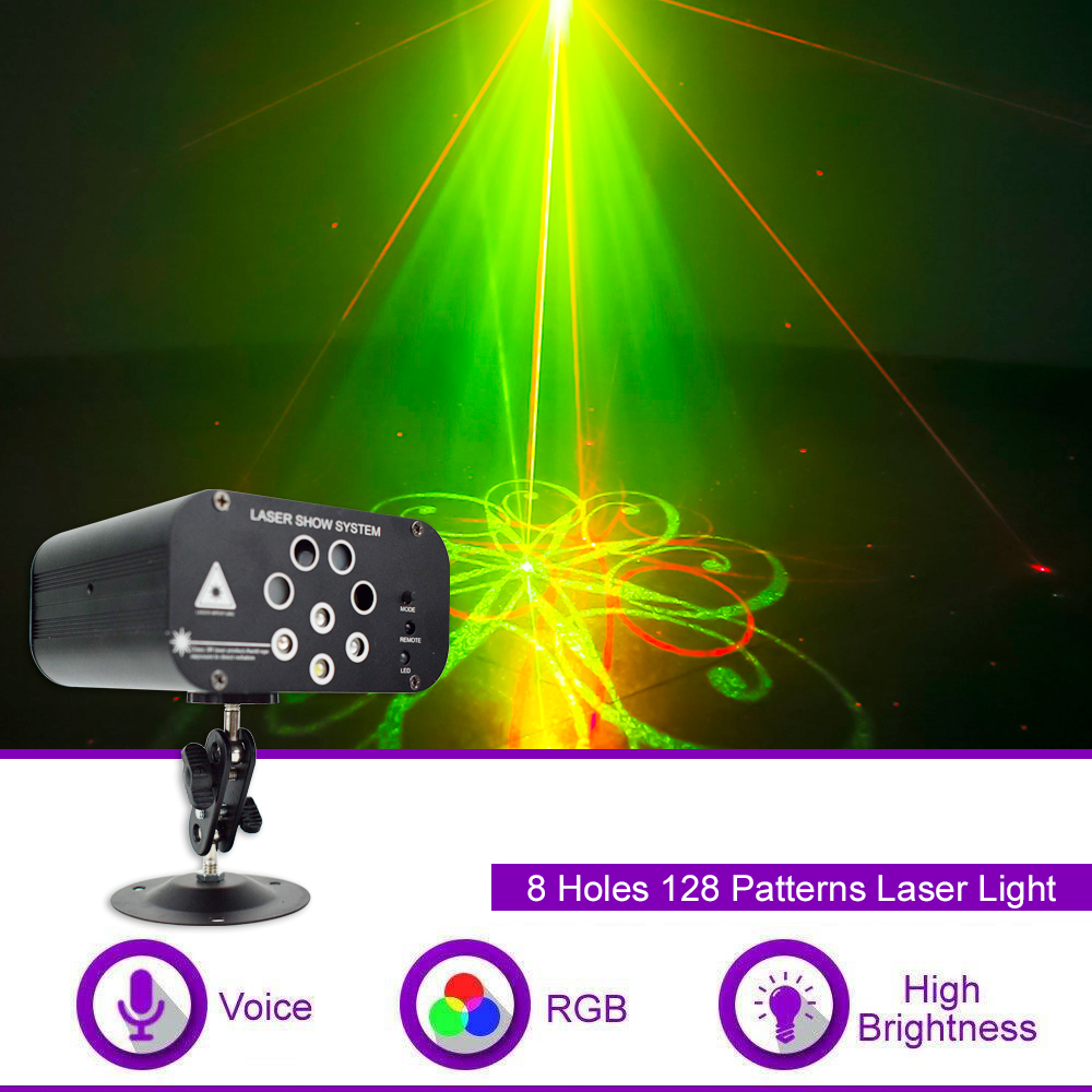 WUZSTAR 8 Holes 128 Patterns Laser Light Disco Lights LED DJ  Lighting Party Stage Decoration For Home Wedding Festival Sound