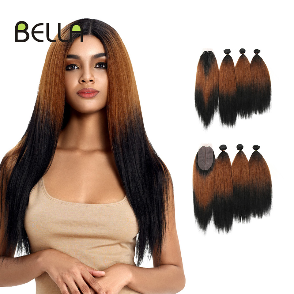 BELLA Ombre Bundles Hair-Extension Closure Weave Synthetic-Hair Yaki Straight with 4pcs/Pack title=
