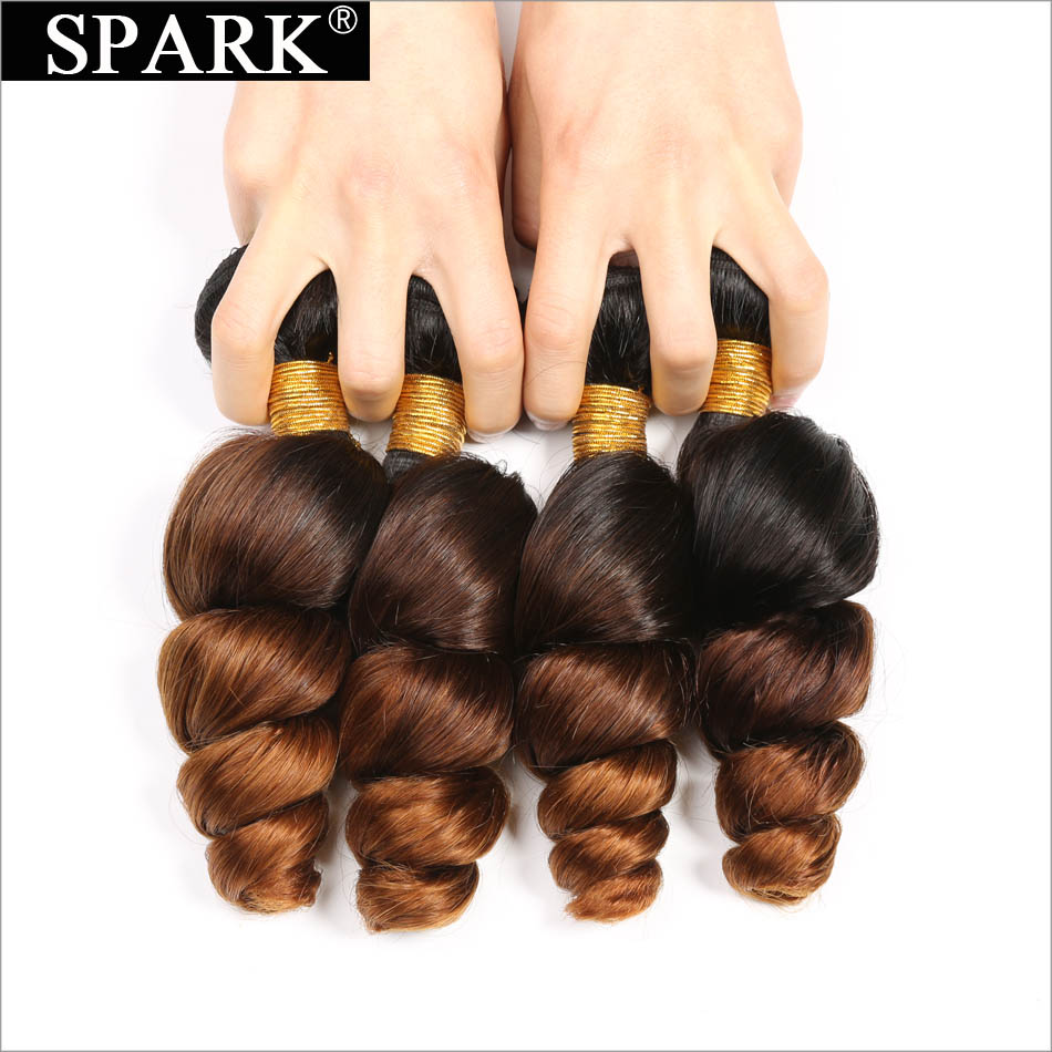 Spark Ombre Brazilian Loose Wave Bundles with Closure Free Part Remy Hair Extension 1B/4/30 Human Hair Bundle with Lace Closure 2